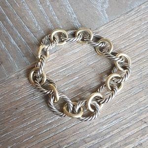 David Yurman Large Oval Link Bracelet With Gold